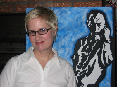 Poet Jennifer Moxley with painting of Frank O'Hara